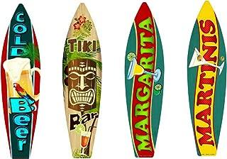 Bundle: Surfboard Wall Art Decor, Metal Drinks Beach Signs - Cold Beer Surfboard Sign, Tiki Bar Surfboard Sign, Margarita Surfboard Sign & Martinis Surfboard Sign