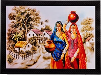 eCraftIndia 'Village Women' Matt Textured Framed UV Art Painting (Synthetic Wood, 35.55 cm x 1.27 cm x 27.93 cm), Multicolour