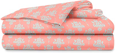 Blue Dahlia Cotton Printed Flat Sheet with 2 PillowCovers | Cotton King Size Bedsheet | Oeko TEX Certified (Peach Damask_King)