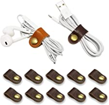 FIBOUND 10pcs Earphone Winder Leather Cable Straps,Cable Ties Leather Cord Organizer,USB Cable Clips,Earphone Winder with ...