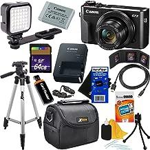 "Canon PowerShot G7 X Mark II Digital Camera w/ 1"" Sensor, Tilt LCD Screen, Wi-Fi & NFC Enabled (Black) International Version + LED Light + 12pc 64GB Deluxe Accessory Kit w/HeroFiber Cleaning Cloth"
