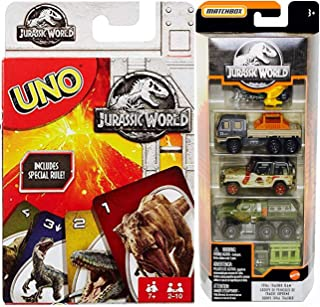 Trekkers Dino Park Jurassic World Terrain Rivals 5-Pack Cars Set Bundled with + Uno GO Card Matching Game 2 Items