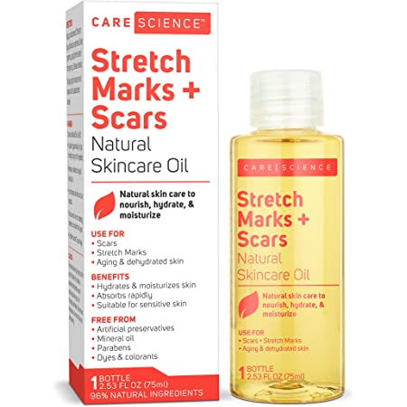 Care Science Stretch Marks + Scars Oil, 2.53 Ounce - For Scars, Stretch Marks, Foot Care, Hair, Aging & Dehydrated Skin