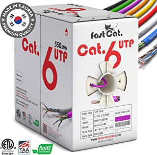fast Cat. Cat6 Ethernet Cable 1000ft - Insulated Bare Copper Wire Internet Cable with Noise Reducing Cross Separator - 550MHZ / 10 Gigabit Speed UTP LAN Cable 1000 ft - CMR (Purple)