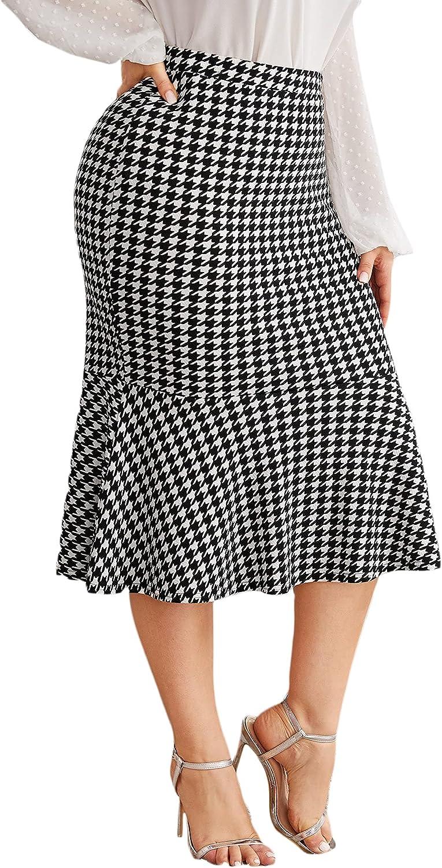 MakeMeChic Women's Plus Size Ruffle Hem High Waist Bodycon Pencil Mermaid Skirt