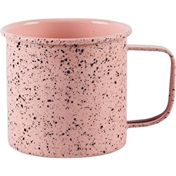 Large Light Weight Camping Coffee Mug - Tin Cup Enamel Coated - Holds 24 Oz (Blush Speckled)