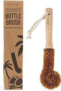 Myga RY1282 Eco Coconut Bottle Brush - Kitchen Cleaning Brush with Natural Coconut Fibre Brush Head - Flexible Bendable Pot Brush