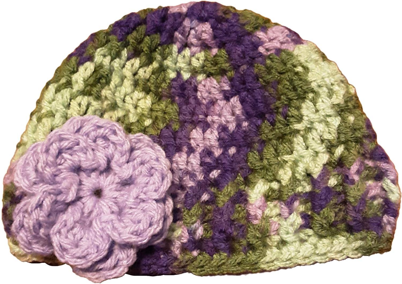 Sweet Lullabiez Handmade Lavender Garden Green Purple Baby Beanie with Purple Flower Size 0-3 Months