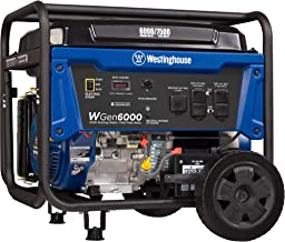 Westinghouse WGen6000 Portable Generator 6000 Rated & 7500 Peak Watts, Gas Powered,..