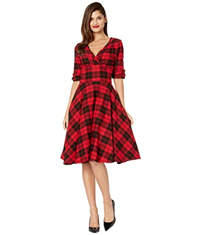 Unique Vintage 1950s Delores Swing Dress with Sleeves (Red/Black Plaid) Women
