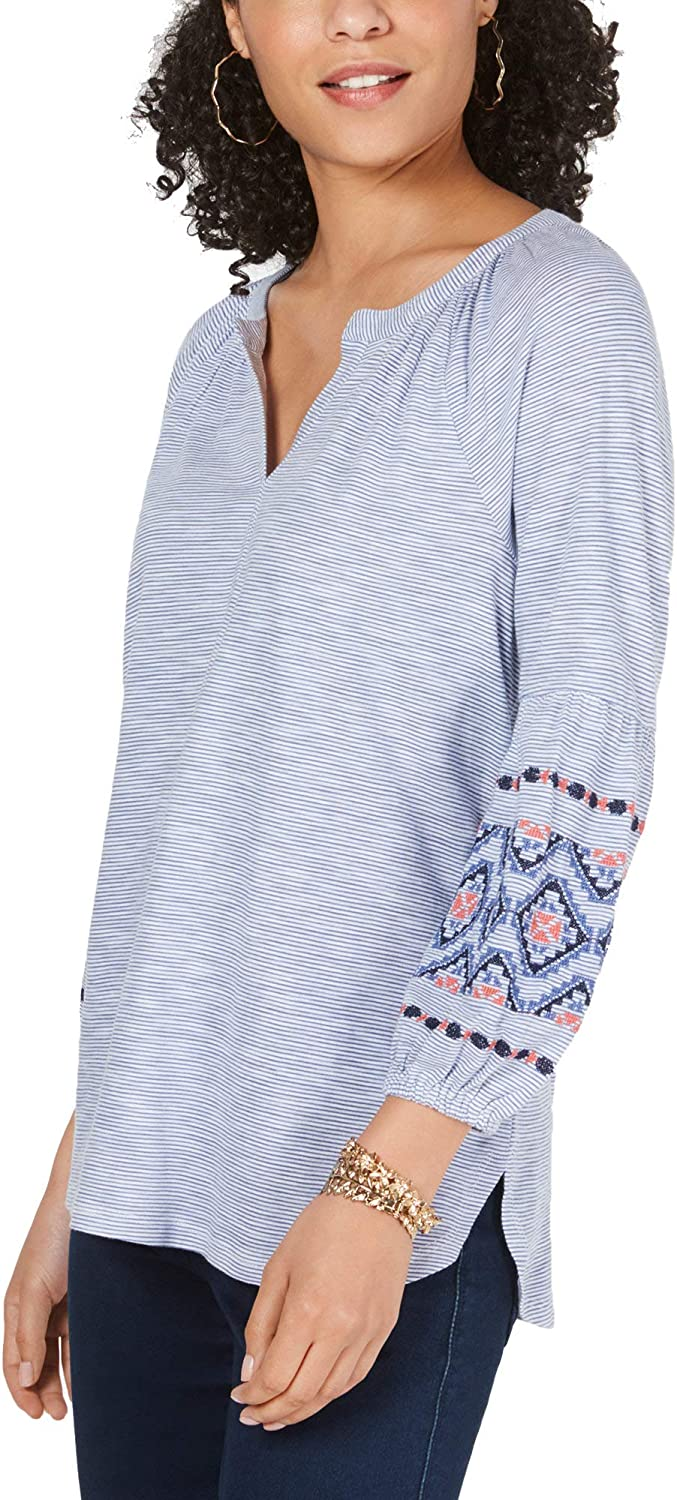 Style /& Co Cotton Striped Embroidered Top