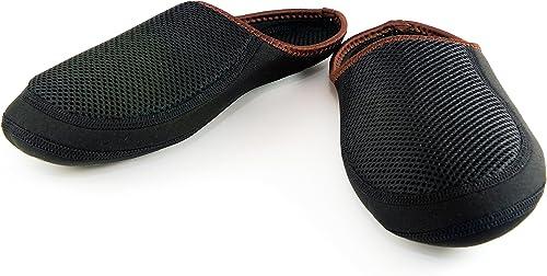 Nufoot Indoor Mens zapatos Slipper negro Mesh Cushies, XL, negro marrón Trim, 1