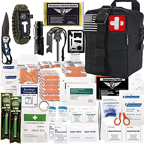 EVERLIT 250 Pieces Survival First Aid Kit IFAK Molle System Compatible Outdoor Gear Emergency Kits Trauma Bag for Cam...