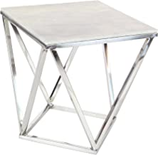 "Deco 79 18""/21"" Stainless Steel And Marble Square Accent Table, Silver/White/Gray"