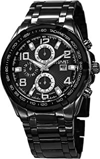 August Steiner Tachymeter Men's Black Dial Stainless Steel Band Watch - AS8127BK