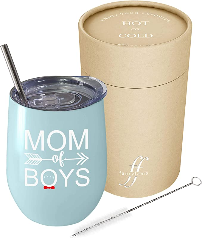 Fancyfams Mom Of Boys 12 Oz White Stainless Steel Vacuum Insulated Wine Tumbler With Lid And Straw Blue Mom Of Boys