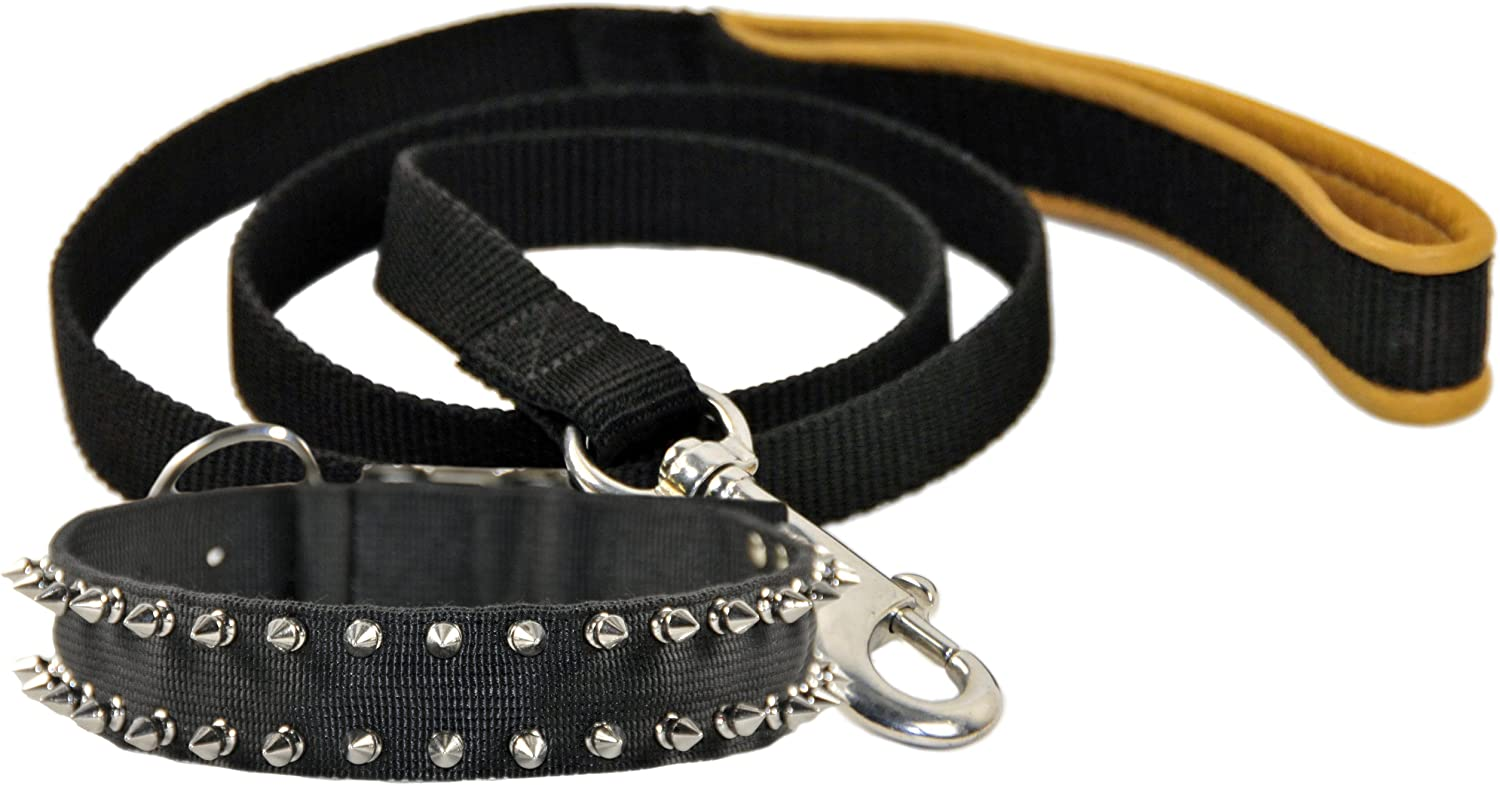 Dean and Tyler Bundle One Nylon Porcupine Collar, 32Inch by 11 2Inch + One Padded Puppy Brown Padding Leash, 6Feet Stainless Snap Hook, Black