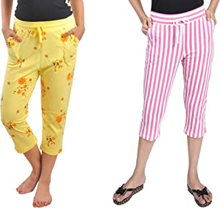 A9- Women Cotton Printed Capris - Pack of 2