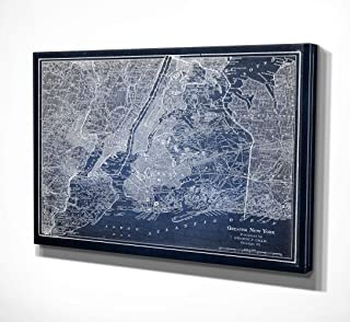 WEXFORD HOME NYC Sketch Map Blue Gallery Wrapped Canvas Wall Art, 30x40