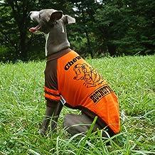 名入れ ネームイン アメフト ラグラン Tシャツ イタリアングレーハウンド服 イタグレ服 犬服 Tシャツ (S, オレンジ×ブラウン)