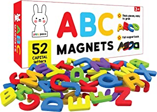 PLAY POCO ABC Magnets Capital Letters - 52 Magnetic Letters - Ideal for Alphabet Learning & Spelling Games - Made from No...