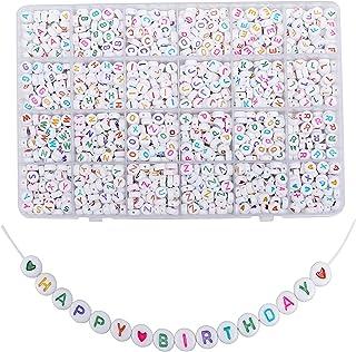 500Pcs rotondo acrilico singolo bianco lettera perline Collana accessori per gioielli Fare bambini artigianato nome bracciali Perline in acrilico