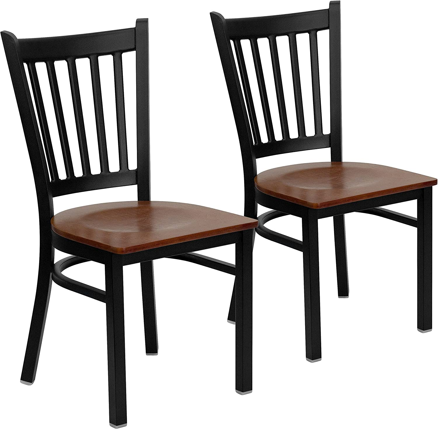Flash Furniture 2 Pk. Hercules Series Black greenical Back Metal Restaurant Chair - Cherry Wood Seat