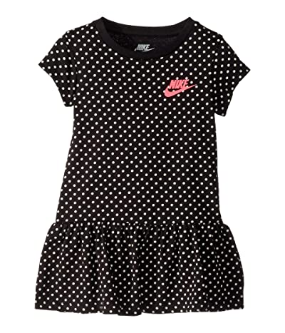Nike Kids Dot Print Dress (Toddler) (Black) Girl