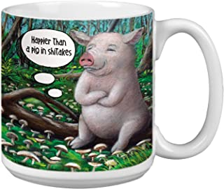 Pig in Shitakes Extra Large Mug, 20-Ounce Jumbo Ceramic Coffee Cup, Themed Animal Art - Gift for Pig and Coffee Lovers (XM...