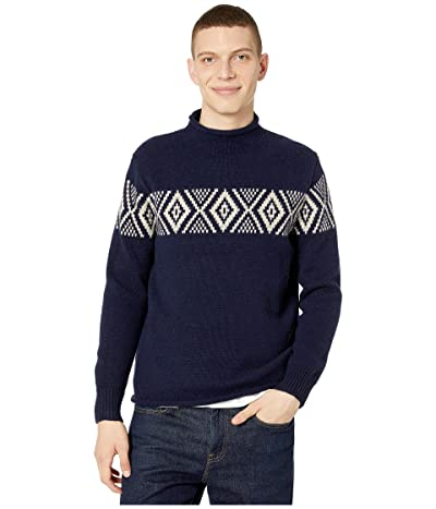 J.Crew Lambswool Rollnecktm Sweater with Jacquard Stripe (Jacquard Navy) Men