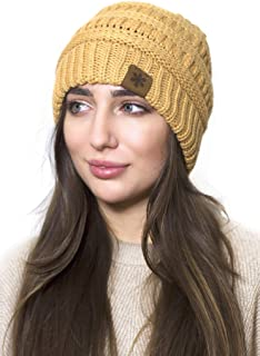 Ponka Slouchy Beanie Winter Hats for Women and Men - Thick Warm Soft Chunky Cable Knit Hat Ski Cap