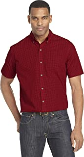 Men's Wrinkle Free Short Sleeve Button Down Check Shirt