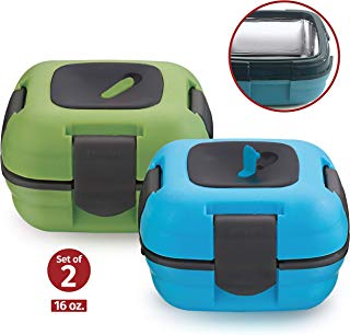 Lunch Box ~ Pinnacle Insulated Leak Proof Lunch Box for Adults and Kids - Thermal Lunch Container With NEW Heat Release Valve 16 oz ~Set of 2~ Blue/Green