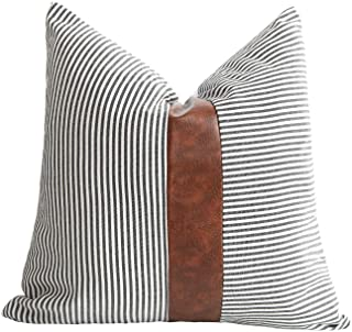 Merrycolor Farmhouse Decorative Throw Pillow Covers for Couch Sofa Stripe Faux Leather Accent Pillow Cover Modern Decor Pi...