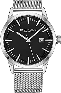 Stuhrling Original Mens Minimalist Swiss Quartz Stainless Steel Dress Wrist-Watch, Quick-Set Date, 2 Easy-Interchangeable Leather Straps – 555AZ Series