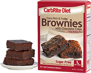 CarbRite Diet - Sugar Free - 1g Net Carb - Keto and Lazy Keto Friendly Dessert - Great Tasting - Easy to Make Snack - Chocolate Chip Brownie Mix, 11.5 oz