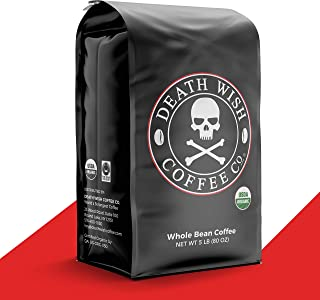 DEATH WISH COFFEE Whole Bean Coffee [5 Lbs.] The World's Strongest, USDA Certified Organic, Fair Trade, Arabica and Robust...