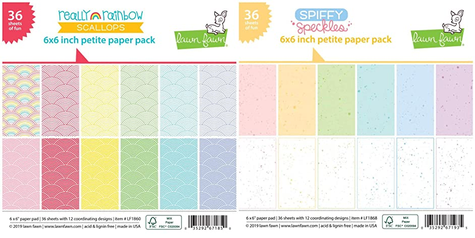 Lawn Fawn - Petite Paper Pads - Really Rainbow Scallops and Spiffy Speckles - 2 Single-Sided 6 x 6 Inch Paper Pads