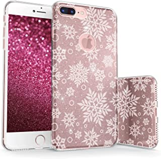 True Color Sparkase Collection v2 Large Snowflakes - White on Rose Gold For iPhone 7 Plus