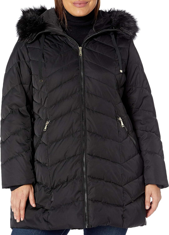 TAHARI Women's Plus-Size Heavy Weight Puffer Coat with Faux Fur Hood Outerwear, Plus Black