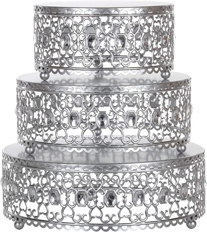 Amalfi Decor Cake Stand Plateau Riser Set Of 3 Pack Dessert Cupcake Pastry Candy Display Plate For Wedding Event Birthday Party Round Metal Pedestal Holder With Crystal Gems Silver