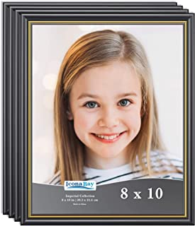 Icona Bay 8x10 Picture Frames, Table and Wall Décor Photo Frame Set, Imperial Collection (Black with Gold Trim, 8 x 10 Inch, 4 Pack)