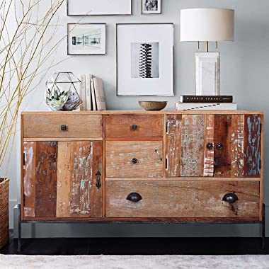 Design Gallery Reclaimed Wooden Multi Drawer Storage Cabinet with Iron Stand