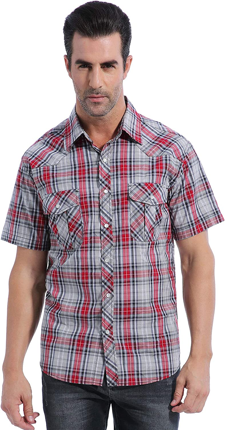 Coevals Club Men's Casual Plaid Pearl Button Snap Front Short Sleeve Shirt Regular Fit (Red/Gray #22, 2XL)