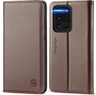 SHIELDON Galaxy S20 Ultra Case, Genuine Leather S20 Ultra Magnetic Wallet Case with Kickstand RFID Blocking Card Slot, Sho...