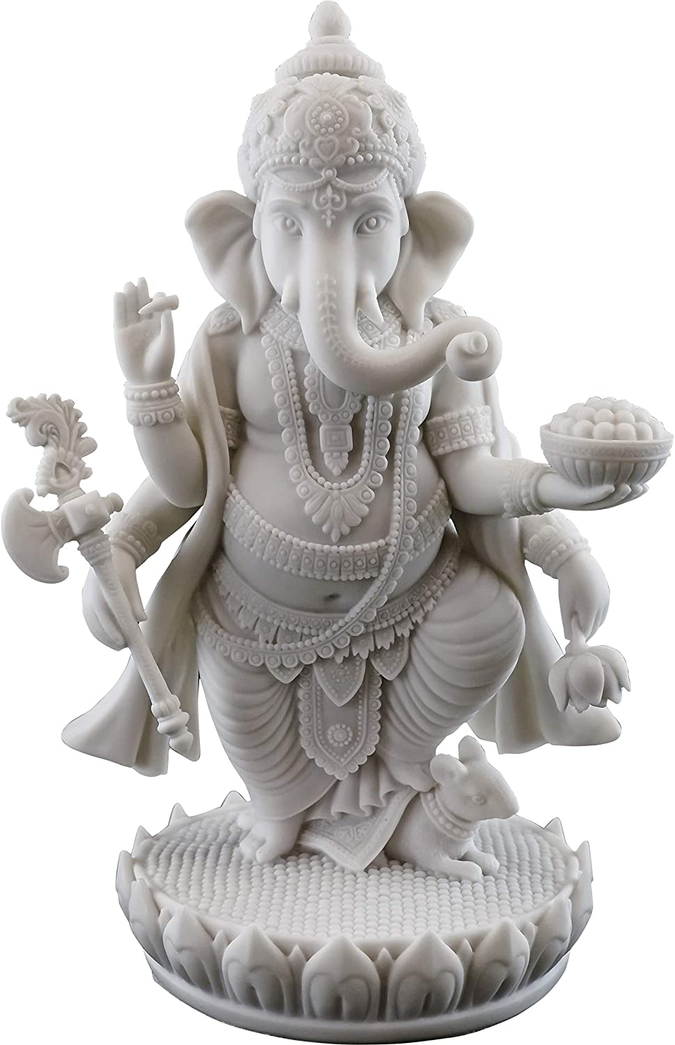 Top Collection 7.5  H 4.75  Standing Ganesh Statue in White Marble Finish - Hindu Lord of Success Sculpture