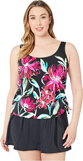 5e18b81561 Maxine of Hollywood Swimwear. Serengeti Stripe Adjustable Tank Swimdress.  $55.00. Plus Size In Full Bloom Faux Skirtini