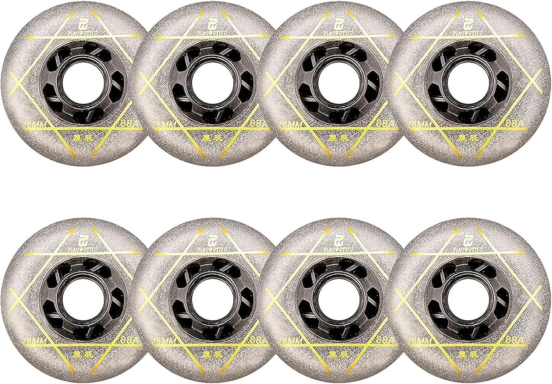 Paquete de 8 ruedas de patines en línea, 83A/88A ruedas de repuesto para rodillos, 72 mm/76 mm/80 mm, resistentes al desgaste, ruedas de patinaje para interior y exterior