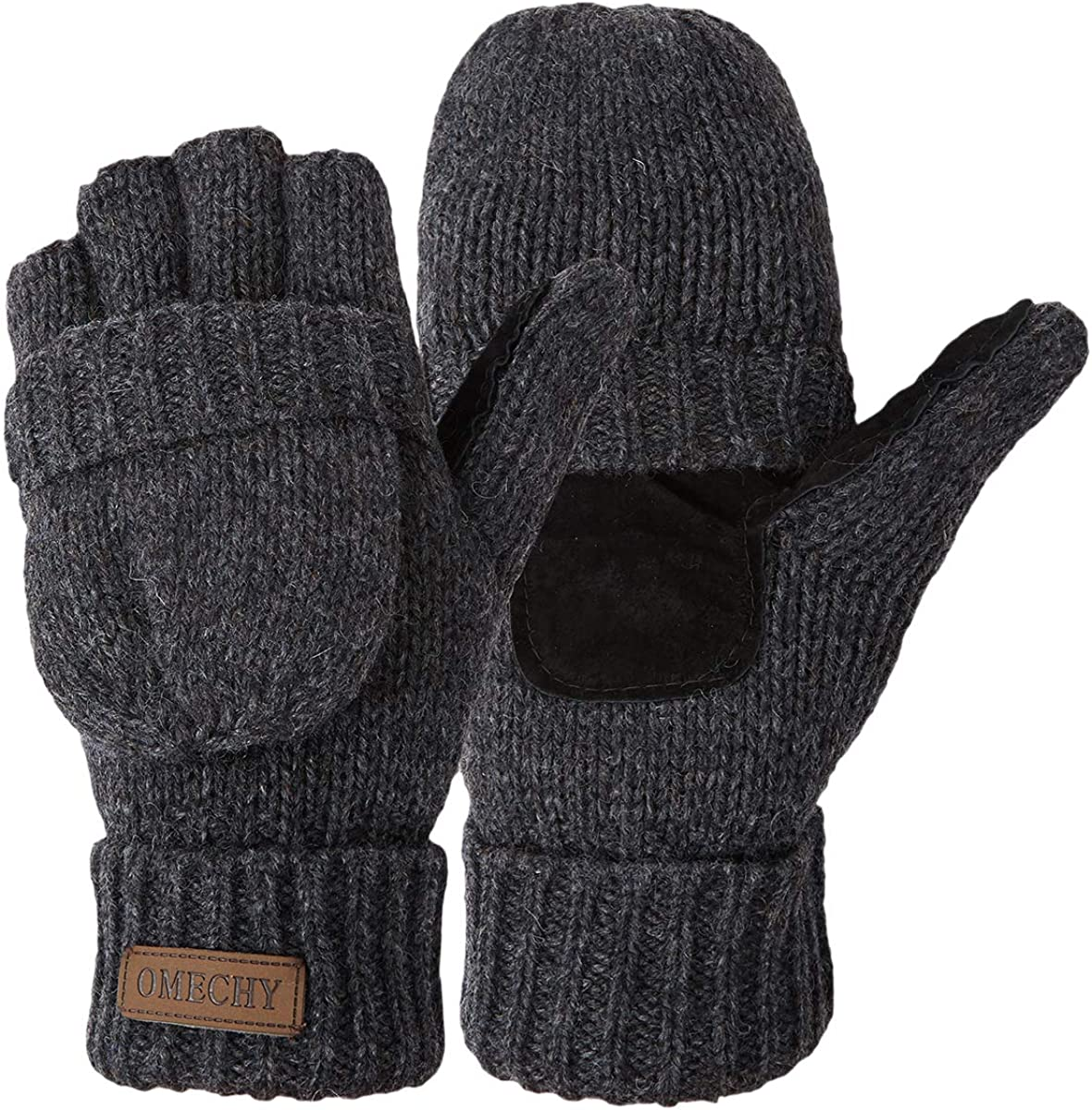 Winter Knitted Fingerless Gloves Thermal Insulation Warm Convertible Mittens Flap Cover for Men Women
