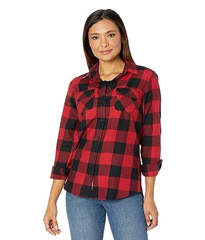 Eddie Bauer Plus Size Firelight Flannel Shirt (Scarlet) Women